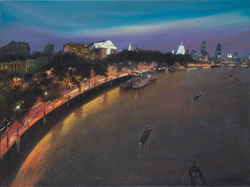 London at Night from Waterloo Bridge