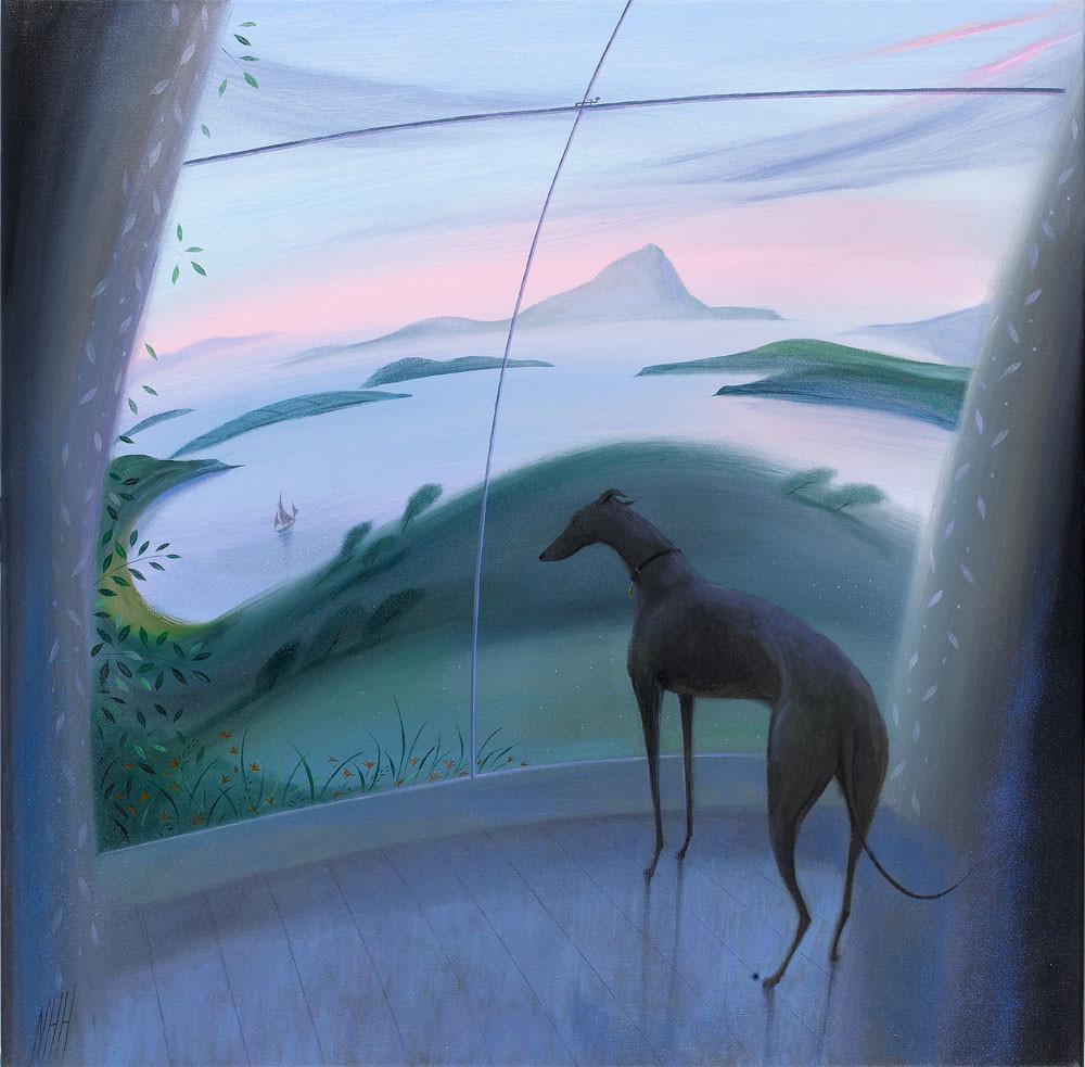 Greyhound by a Window