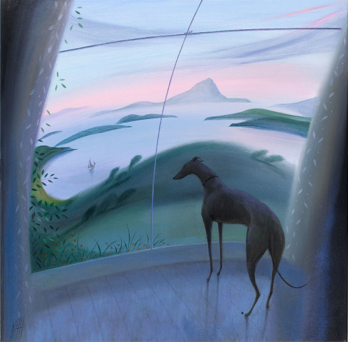 Greyhound by a Window