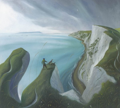 Cliff Edge - A painting in Nicholas Hely Hutchinson's 2017 exhibition at the Portland Gallery