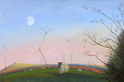 Sheep and a Winter Moon