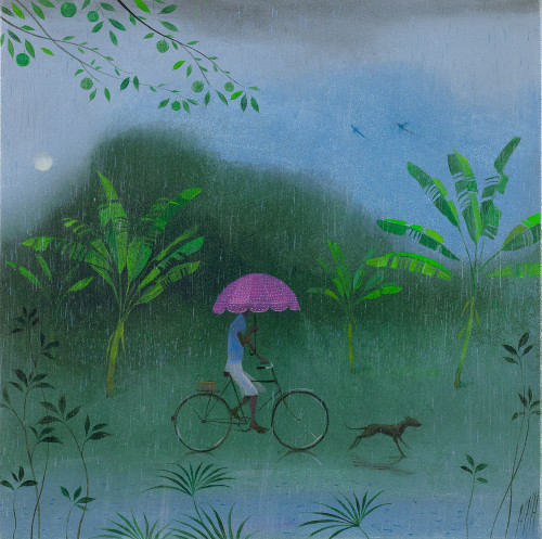 The Pink Umbrella in the Tropical Rain