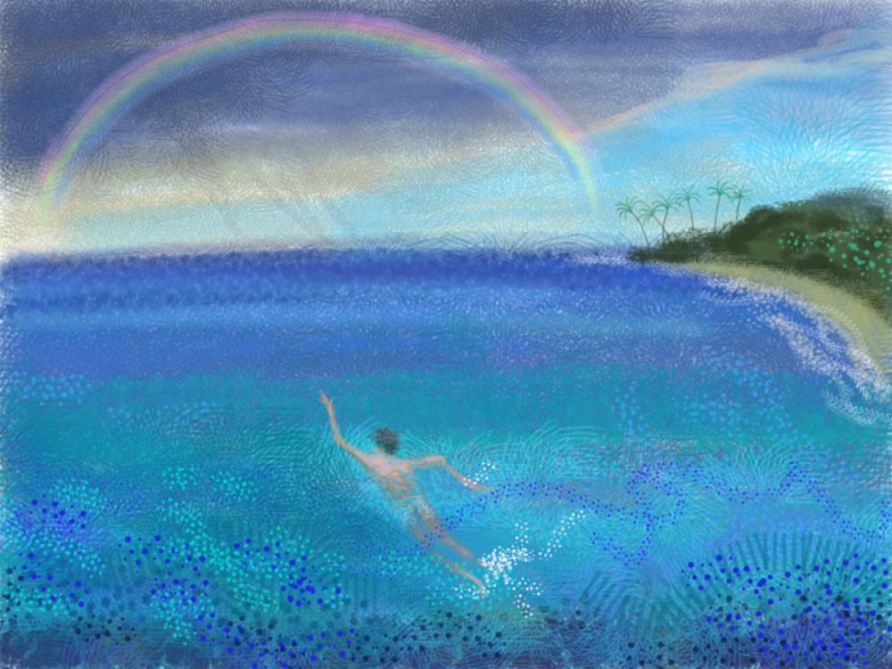 Swimmer Under the Rainbow