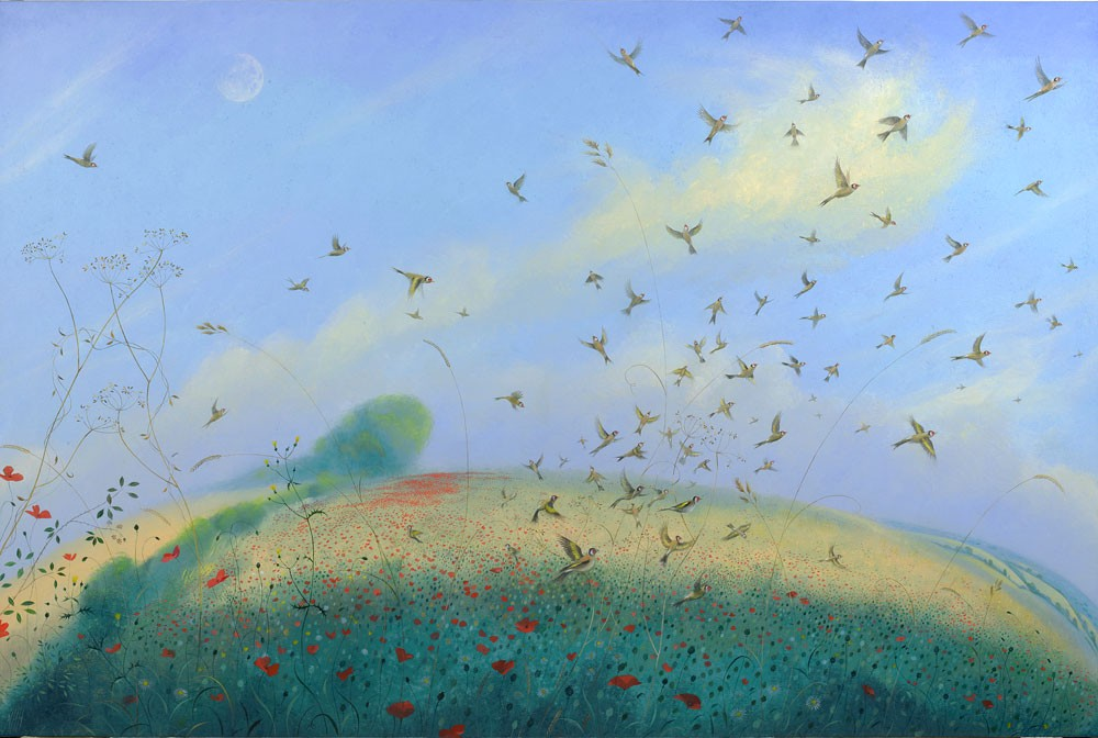 Goldfinches, Poppies and the Pale Midsummer Moon