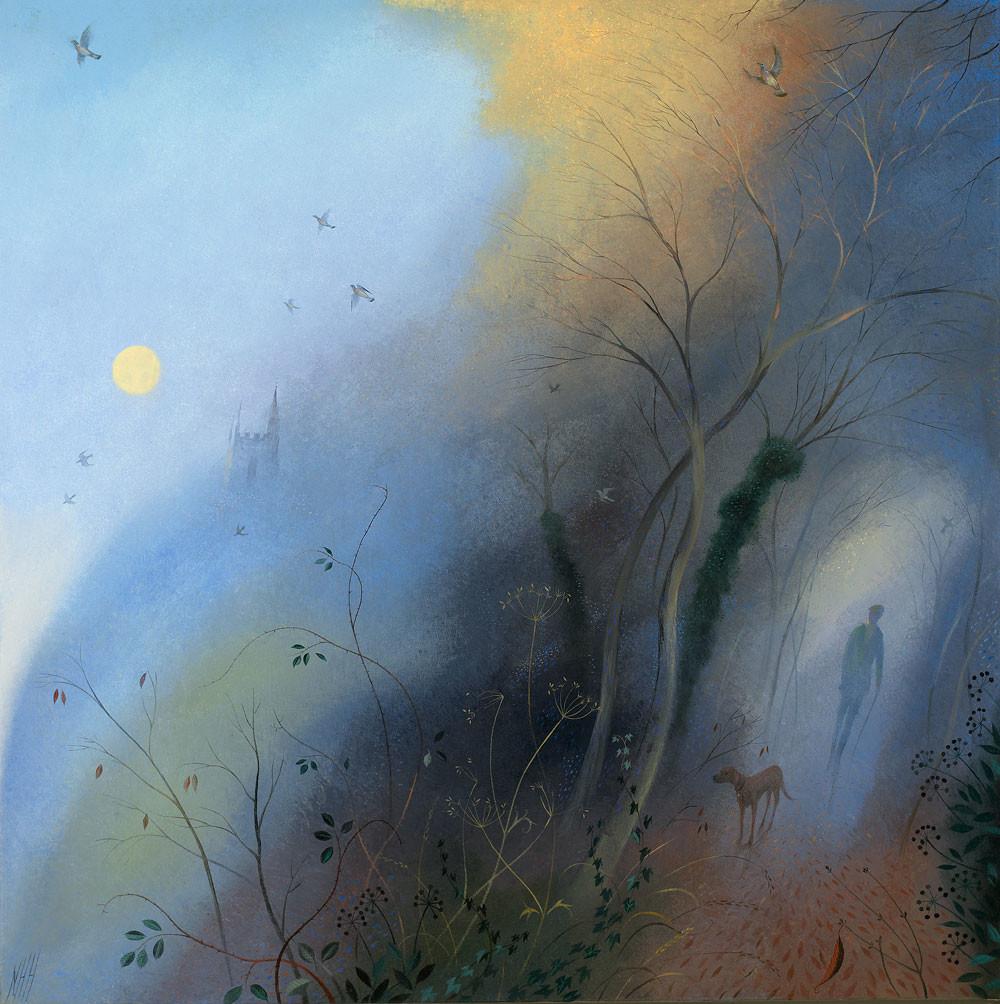 Winter Evening Walk – Rising Moon