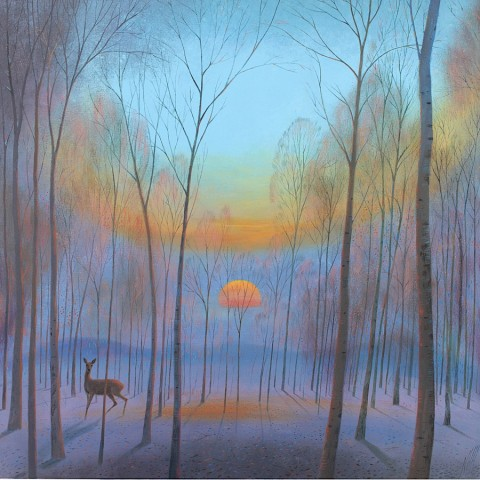 'Cold Morning Sunrise '.  A painting from Nicholas's exhibition in November