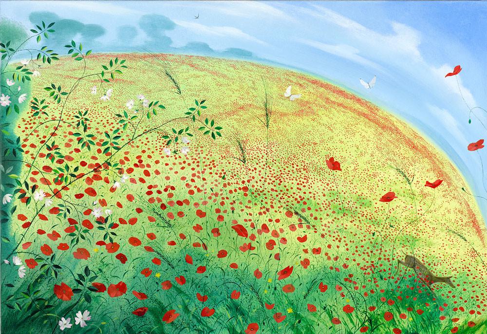 Roe Deer in a Field of Poppies