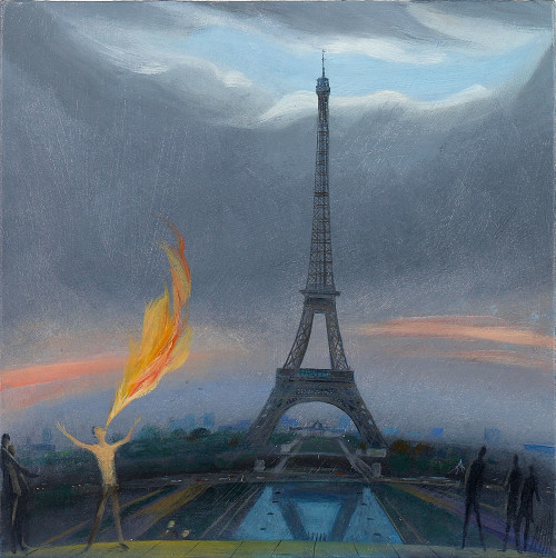 Fire-Eater by the Eiffel Tower