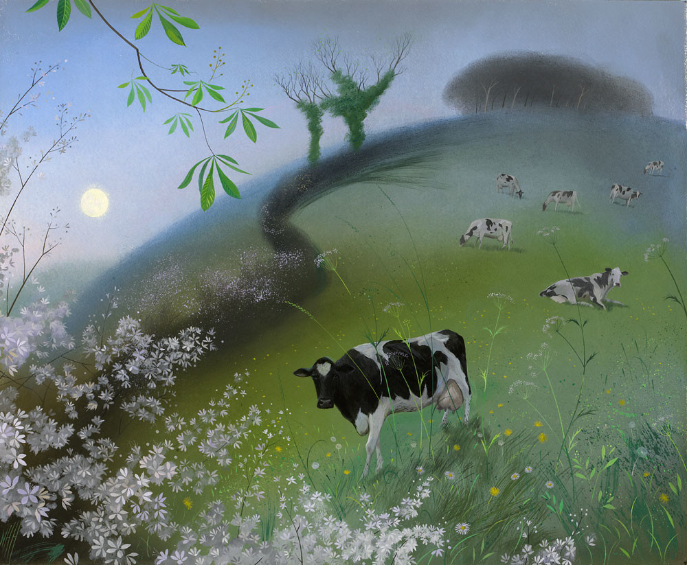 Cows and a Rising moon – Early Spring