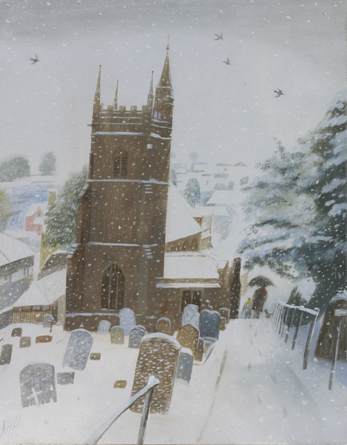 Village Church in the Snow