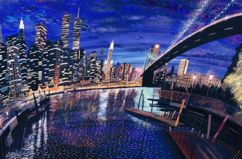 City Lights, Brooklyn Bridge (1999)