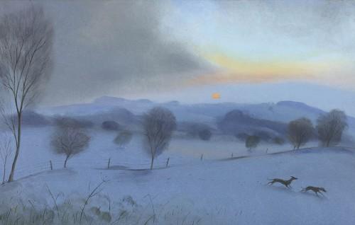 Running through the Snow – Dawn at Win Green