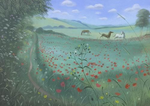 Horses Across the Poppy Field